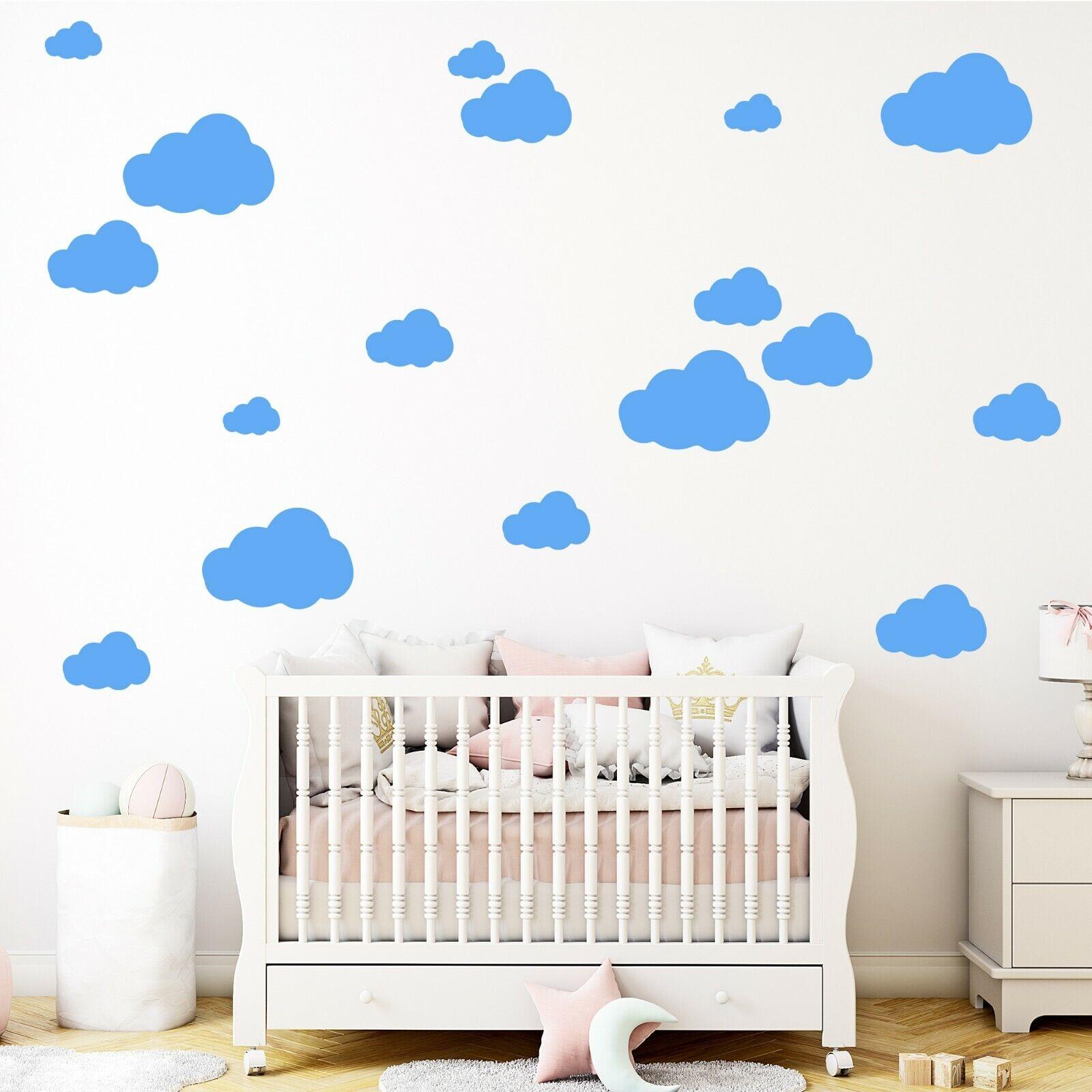 50 Wolken einfarbig Wandtattoo Aufkleber Sticker Wanddeko fürs Kinderzimmer