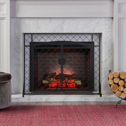 Memori Contemporary Iron Fireplace Screen Fireplace Screens & Doors