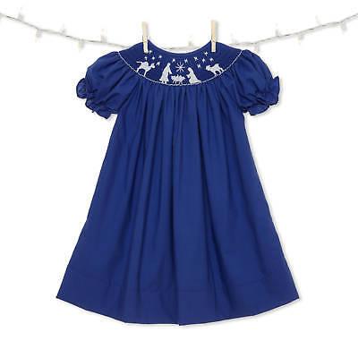 Blue Nativity Christmas Smocked Bishop Dress NEW * girl boutique *