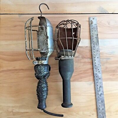 Vintage Mechanics Trouble Light, Industrial Cage Work Lamps from an old garage