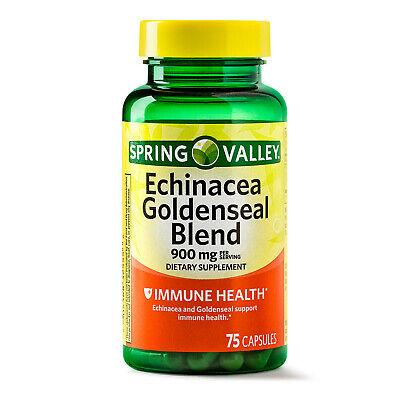 Spring Valley Echinacea & Goldenseal Blend Capsules 900 mg 75 Ct Exp 12/21 Echinacea Goldenseal Capsules