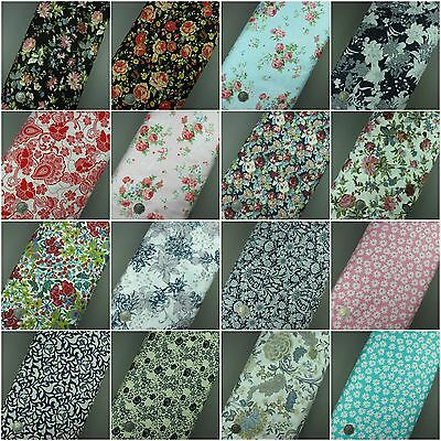 100% Cotton Floral Fabric Flowers Vintage Dress Craft Sold per metre Extra Wide