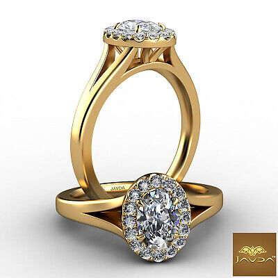 Halo Split Shank Oval Diamond French Pave Set Engagement Ring GIA F VS2 0.7 Ct
