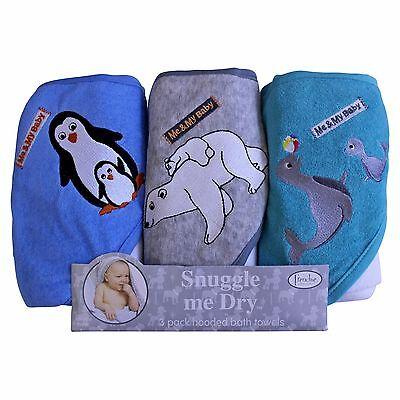 Boys, Wild Animal Design, Hooded Baby Bath Infant Towel Set, 3 Pack Knit Terr...