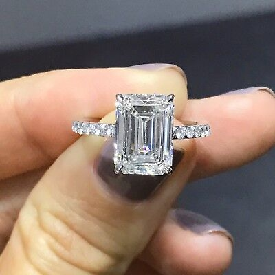 2.50 Ct Emerald Cut Diamond Solitaire w/ Accents Engagement Ring H,VS2 GIA 18K