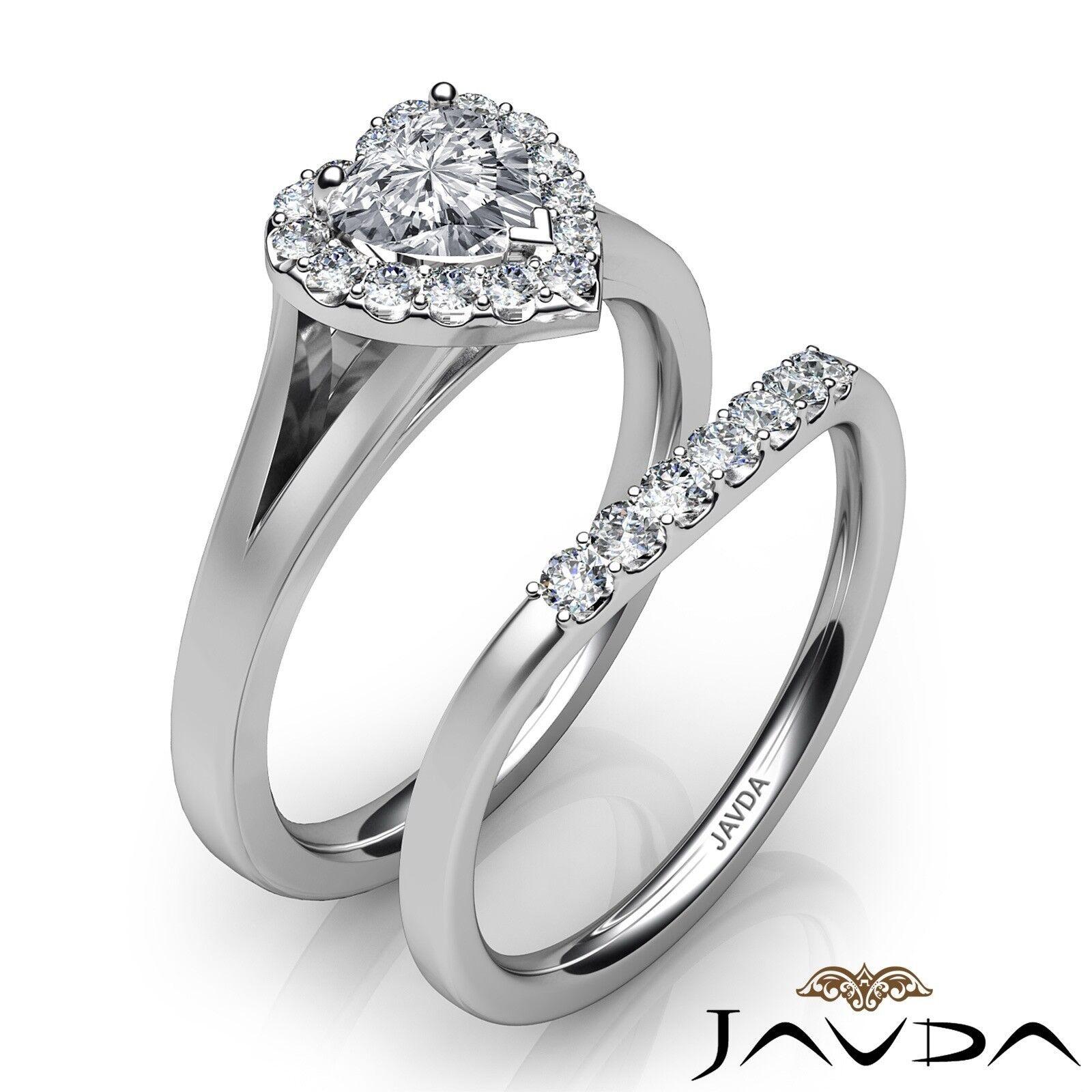 1.22ctw Pave Halo Bridal Set Heart Diamond Engagement Ring GIA G-VVS2 White Gold 2