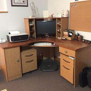 Corner Office Desk & Two Portable Filing Cabinets