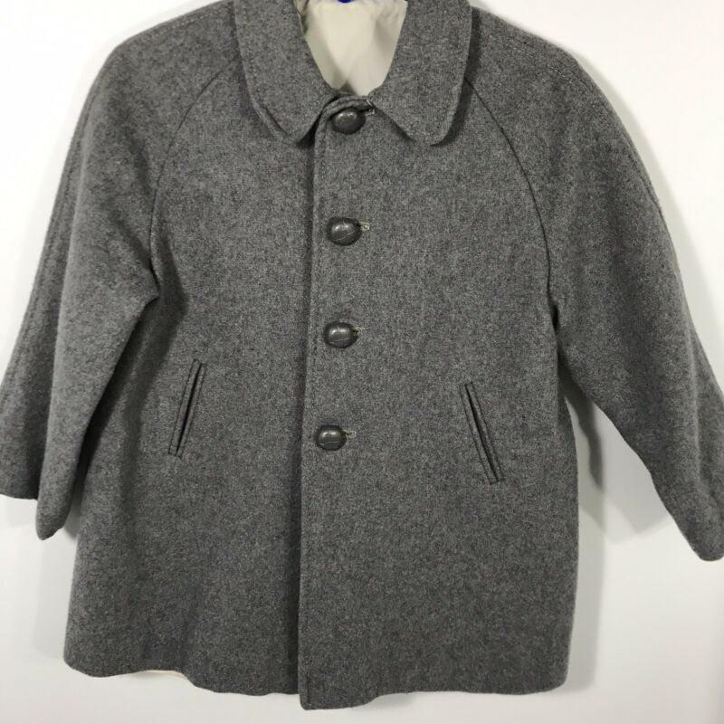 Childs Toddler Wool Coat Hat Gray 1950s 1960s Vintage