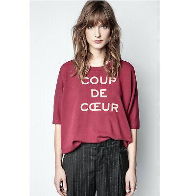 Zadig & Voltaire Portland Coup de Coeur Sweatshirt Top Oversized S New 214022
