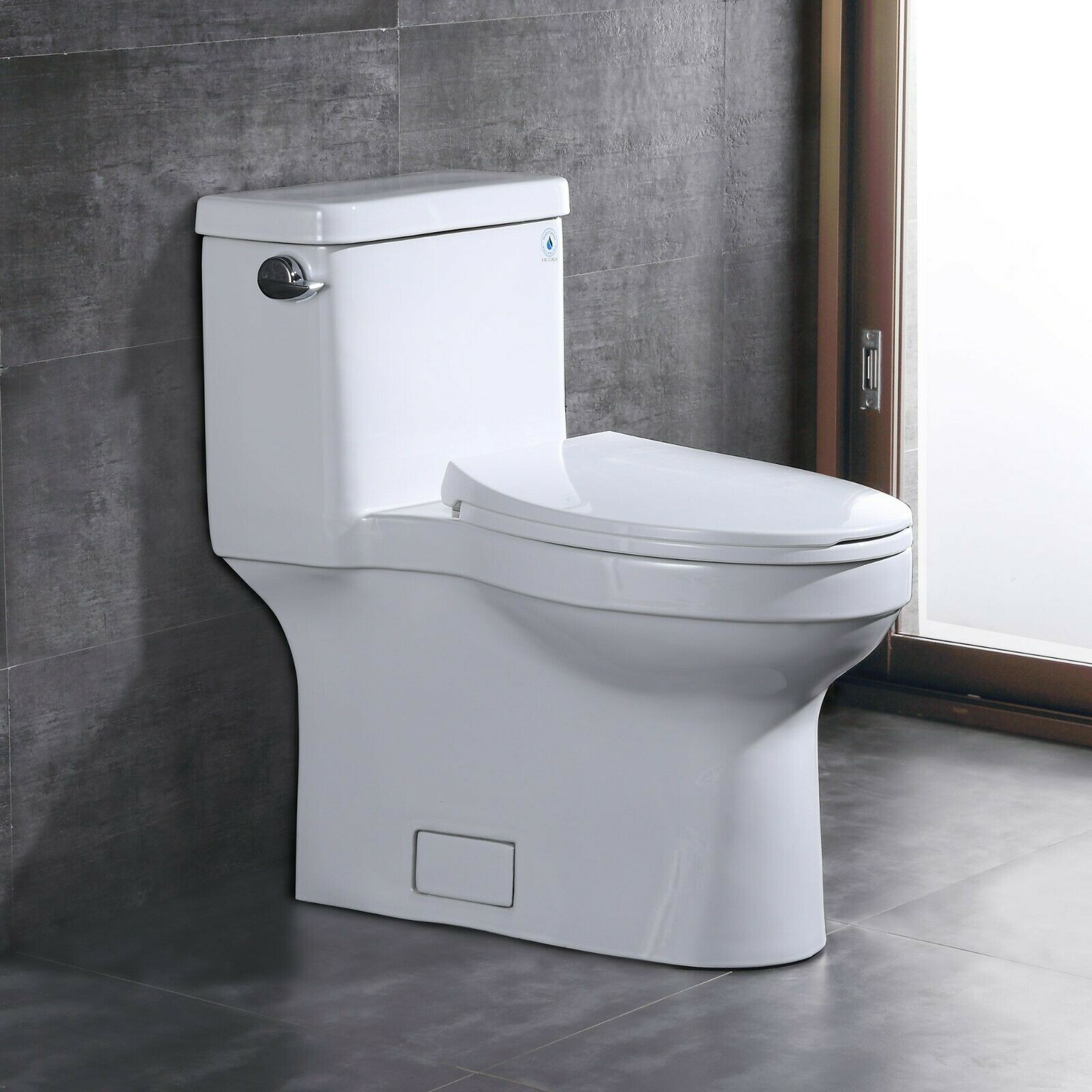 Comfort Height 1 28 Gpf One Piece Elongated Toilet With Left Hand Trip Lever Ebay