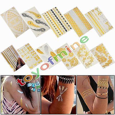 Jewel Tattoos (Latest Metallic Golden Temporary Jewel Tattoos Jewelry Stickers Flash Art)