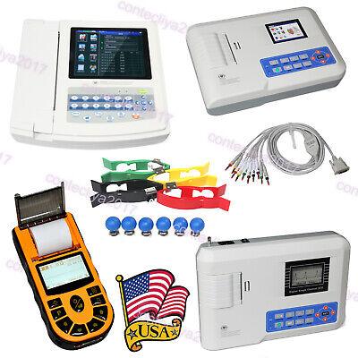 Portable Contec Ecg Machine Ekg Electrocardiograph Pc Sw Printer 1312 Channel