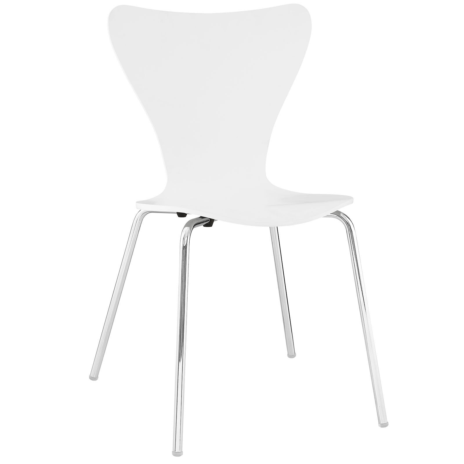 Stupendous Details About Mid Century Modern Retro Bent Wood Chrome Metal Leg Dining Side Chair In White Machost Co Dining Chair Design Ideas Machostcouk