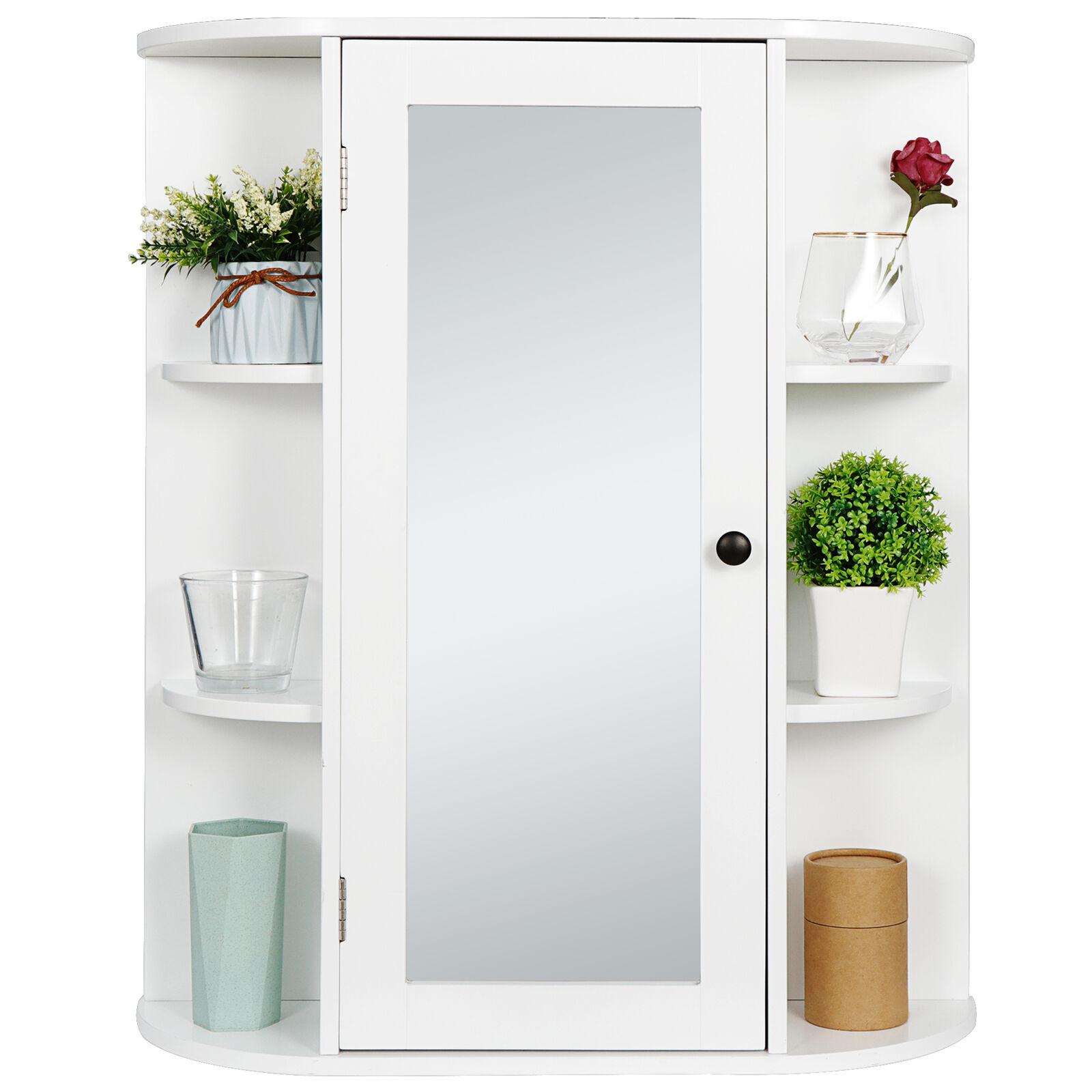 White Wall Mount Home Bathroom Cabinet Organizer Single Door with Mirror Bath