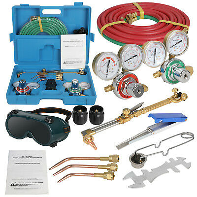 Gas Welding Cutting Welder Kit Oxy Acetylene Oxygen Torch W 15hose Plastic Case