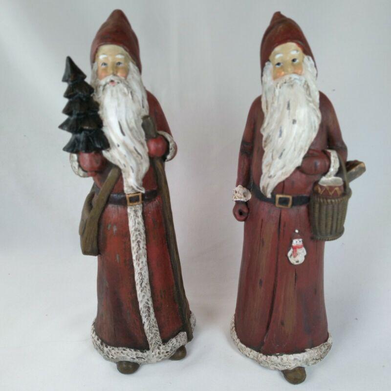 "Christmas Santa 10"" Tall Classic Old Fashioned Victorian Santa, Pair, Resin"