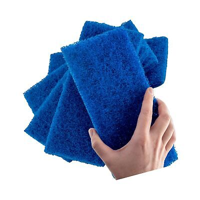 Medium Duty XL Blue Scouring Pad 5 Pack. 10 x 4.5in Large Multipurpose Nylon ...