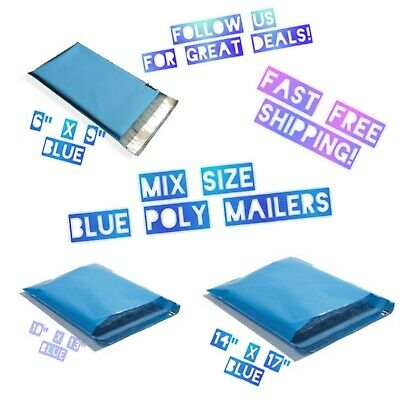 75 Mix Size 6x9 10x13 14x17 Blue Poly Mailers Variety Pack 25 Ea