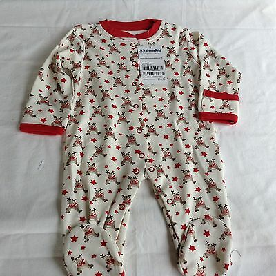 Jojo Maman Bebe 0 To 3 Months Play Suit With Little Reindeers