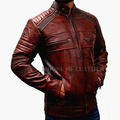 Men/'s Leather Jacket Brown Biker Motorcycle Real Leather Jacket BNWT
