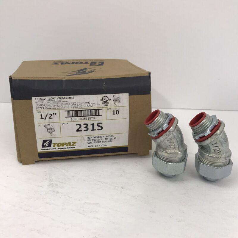 "(2) Topaz 231S 1/2"" Liquid Tight Conduit Connector 45 Degree Mall Iron~NEW~"