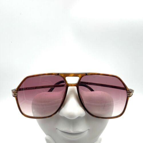 Vintage Playboy Brown Gold Square Aviator Sunglasses FRAMES ONLY