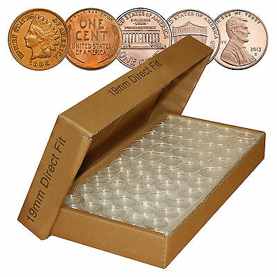 PENNY Direct-Fit Airtight A19 MM Coin Capsule Holders For PENNIES (QTY 25) w/BOX
