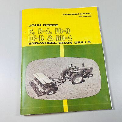 Operators Manual For John Deere B Ba Fbb Dfb Dra Grain Drill Owners Chart