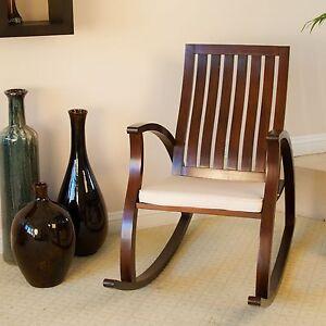 Modern Brown Mahogany Wood Rocker Chair W/ Cushion