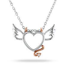 Sterling Silver Diamond Accent Devil Heart Pendant Necklace