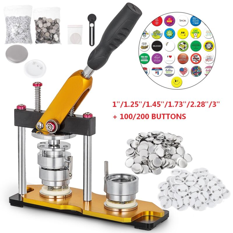 "1""/1.25""/1.45""/1.73""/2.28""/3"" Button Maker Machine Rotate + 100/200 Buttons US"