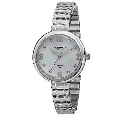 New Women's Akribos XXIV AK765SS Diamond Markers MOP Expandable Bracelet Watch - Expanding Bracelet Watch