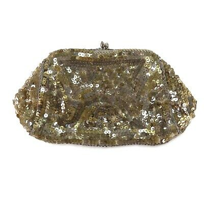 1920s Handbags, Purses, and Shopping Bag Styles Vintage Womens Gold Sequin Handbag Mini Snap Clutch Evening Bag 1920s $29.99 AT vintagedancer.com