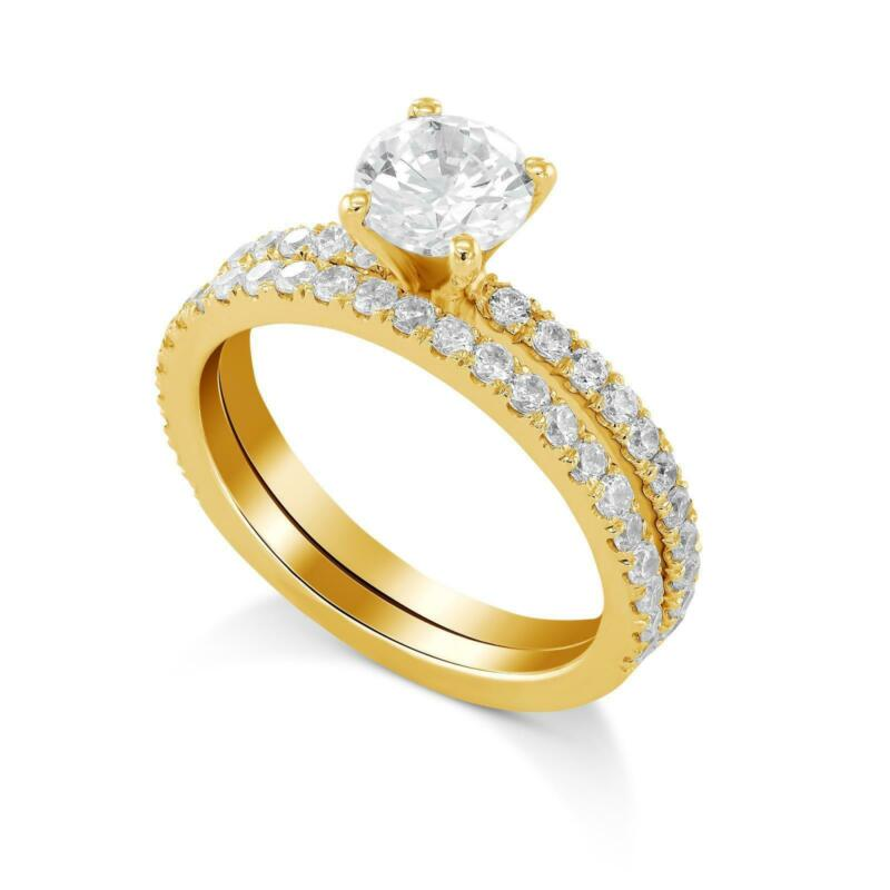 1.5 Ct G Si2 Round Diamond Engagement Ring With Matching Band 14k Rose Gold