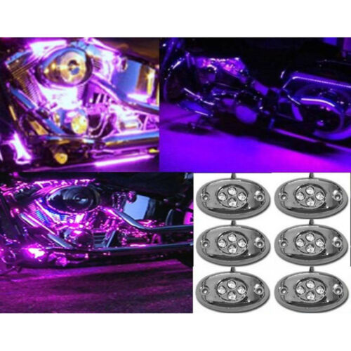 6Pc Purple LED Chrome Accent Module Motorcycle Chopper Frame Neon Glow Light Pod