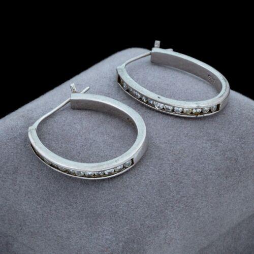Vintage Designer 925 Sterling Silver Cubic Zirconia Geometric Hoop Earrings 6.2g
