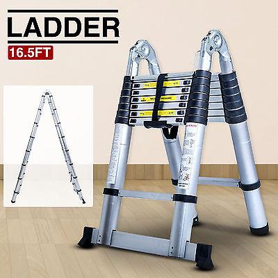 Folding 16.5ft Aluminum Multi Purpose Ladder Telescoping Telescopic Extension