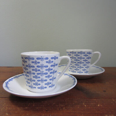 Vintage Arabia Finland small cup & saucer blue white set of 2