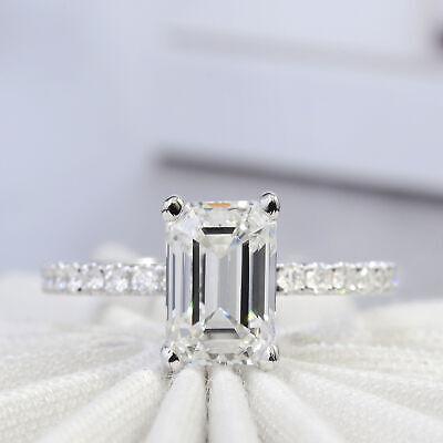 Stunning 3.50Ct Emerald Cut Diamond Solitaire Engagement Ring H VS2 GIA Platinum