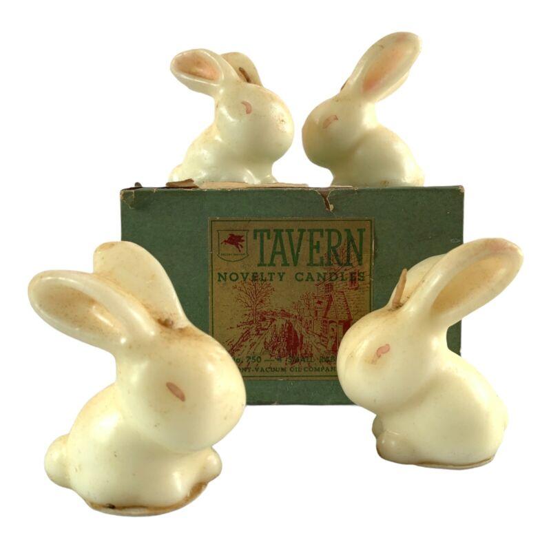 Vintage Tavern Candles SM Rabbits Set Of 4 In Box #750 Easter Bunny Novelty
