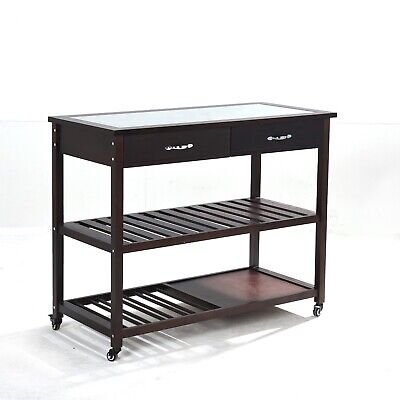 Solid Wood Cherry Kitchen Island with Glass Top, Wheels & Drawers