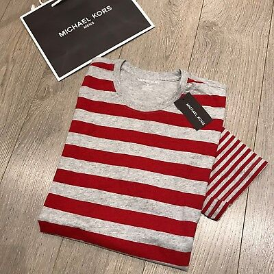 Discounted MICHAEL KORS Mens Red Striped T-Shirt Size M 100% Genuine BNWT