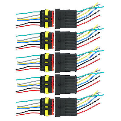 5 Kit 6 Pin 6P Way Waterproof Electrical Car Connector Plug With Wire Us Stock