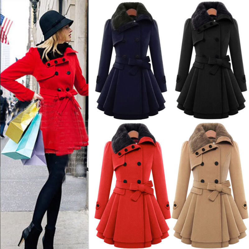 Women Thicken Fur Collared Winter Long Peacoat Coat Trench Outwear Jacket Dress 2