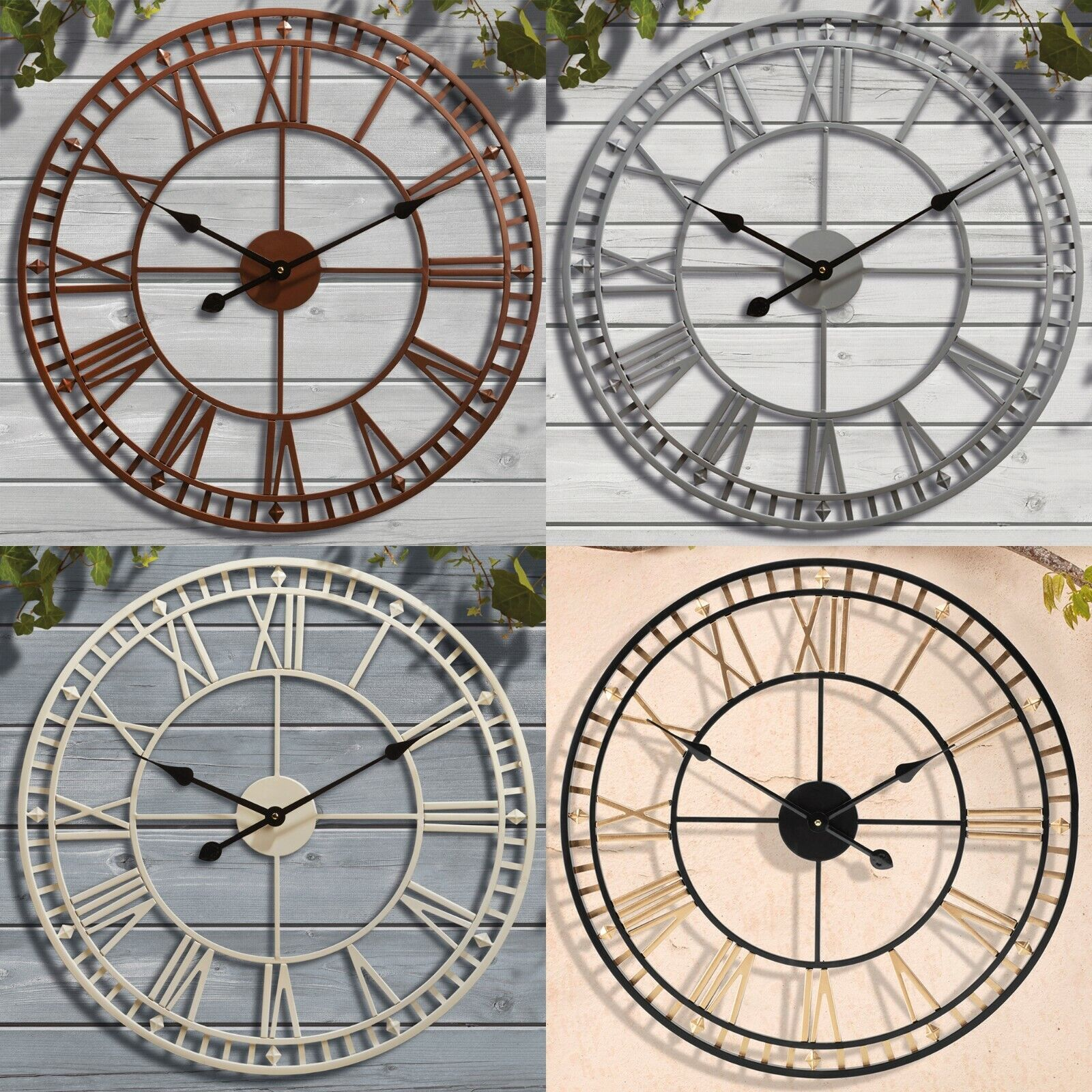 Details About Giant Garden Wall Clock Roman Numeral Metal Outdoor Large Round Face 60cm New
