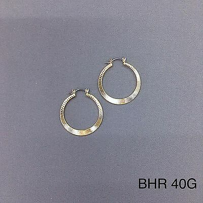 (Hypo Allergenic 14K Yellow Gold Plate Hatched Pattern 1.0