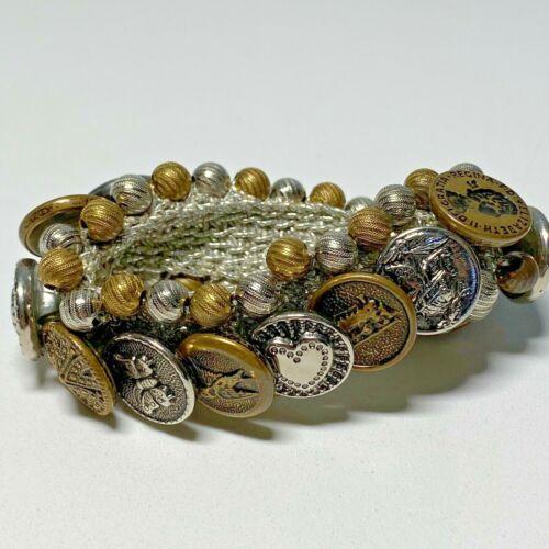 Vintage Button Bracelet Copper & Silver Tone Buttons Beads Silver Elastic Band