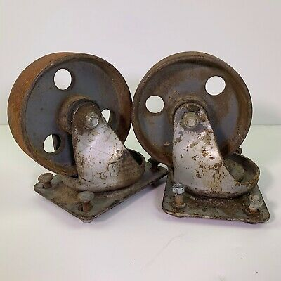 2 5.5 Wheel Cast Iron Swivel Casters Industrial Factory Cart Salvage Vtg Antq