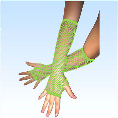 Fingerlose Netzhandschuhe Neon Grün Abendgarderobe Netz Handschuhe Handschuh