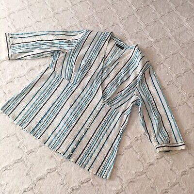 Striped Faux Wrap Shirt (Lane Bryant BLUE Striped Faux Wrap Empire Waist STRETCH Shirt Top SZ 16 1X EUC)